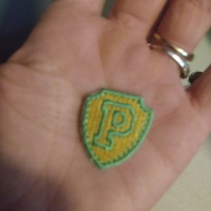Vintage PINK Patch yellow green iron on